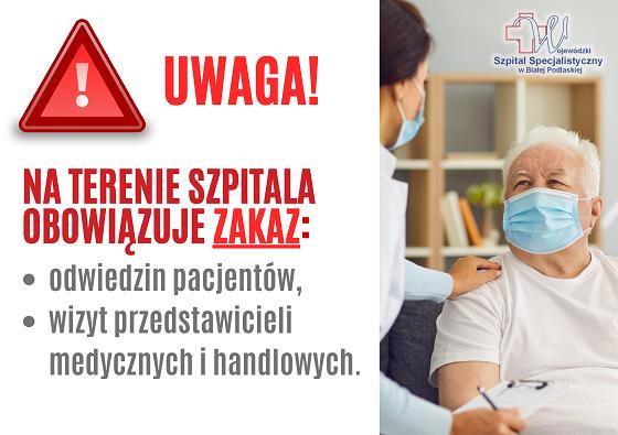 Zakaz odwiedzin pacjentów w bialskim szpitalu. Powodem koronawirus - Zdjęcie główne
