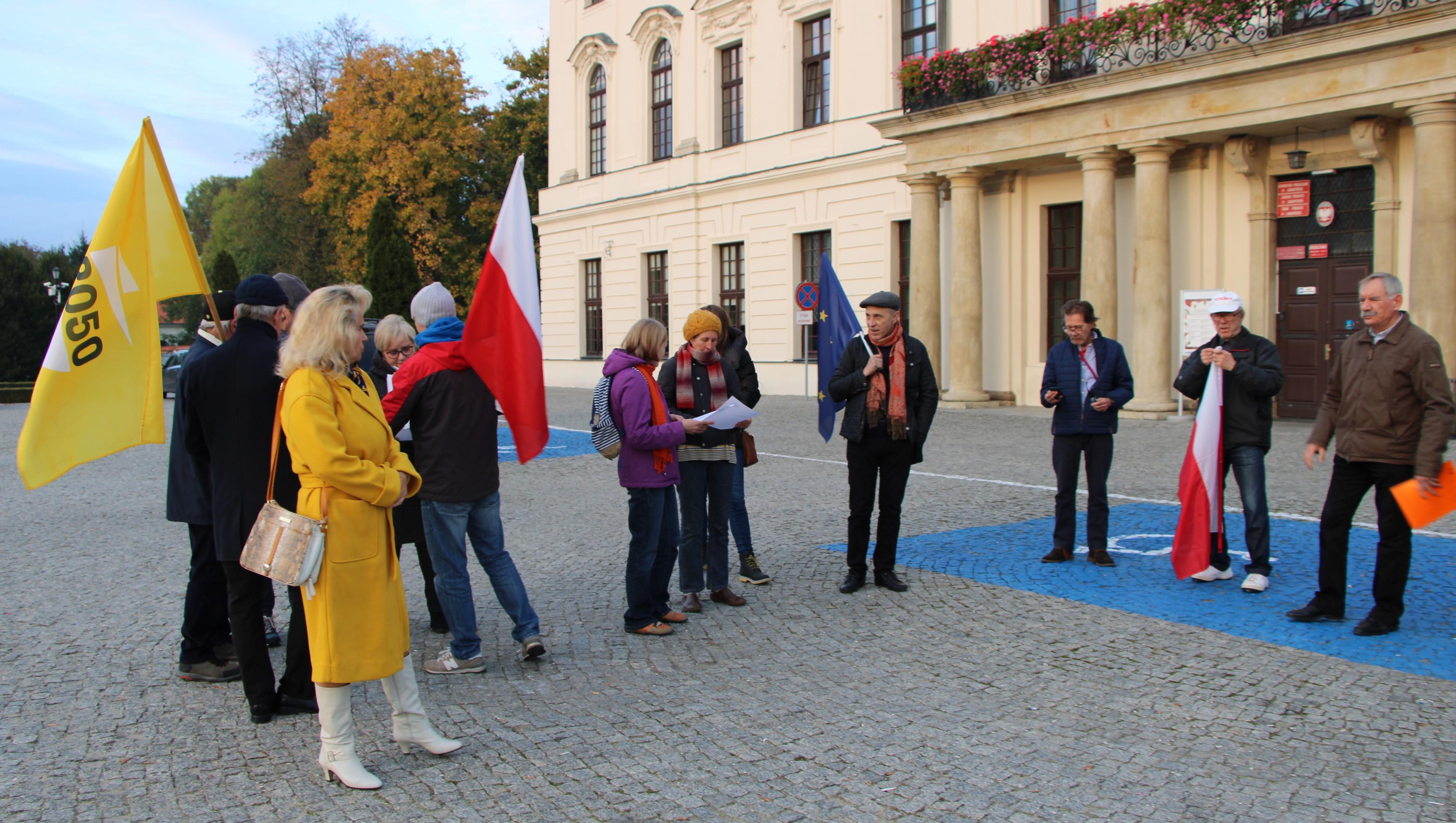 W Lubartowie demonstrowali poparcie dla Unii Europejskiej. Wiec pod siedzibą starostwa powiatowego - Zdjęcie główne