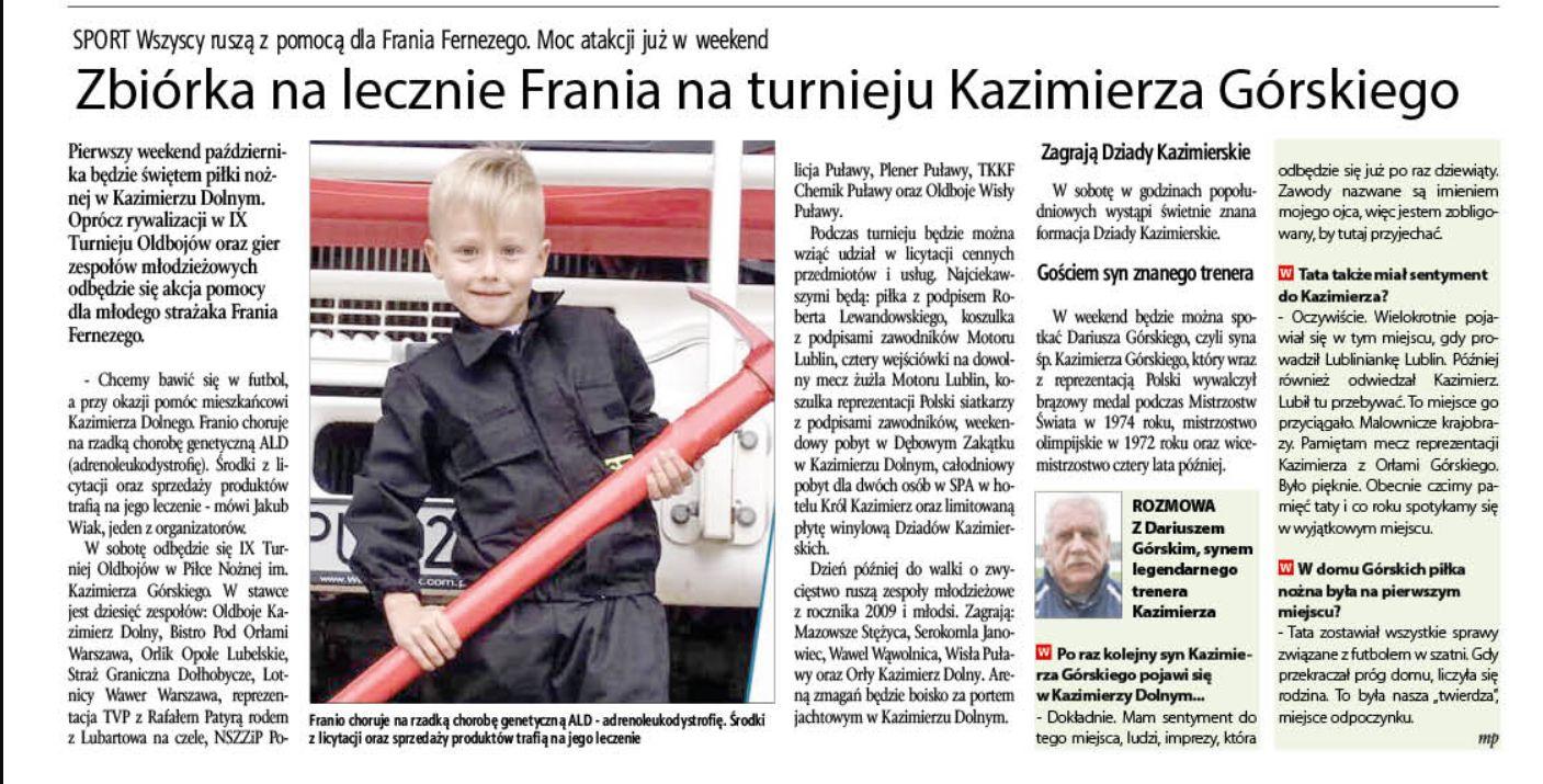 Zbiórka na leczenie Frania na turnieju Kazimierza Górskiego - Zdjęcie główne