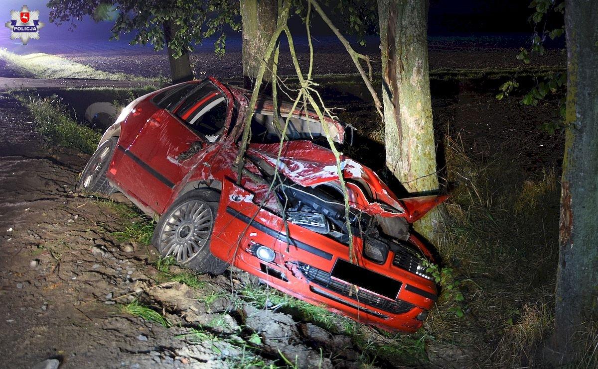 W Skokach kierowca stracił panowanie nad autem i uderzył w drzewo - Zdjęcie główne
