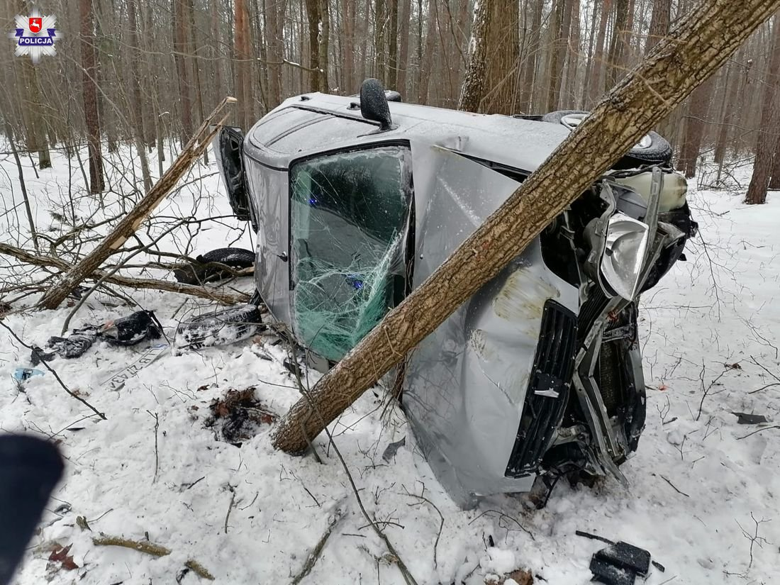 Bezwola: 19-latek bez prawka wypadł z drogi i uderzył w drzewo - Zdjęcie główne