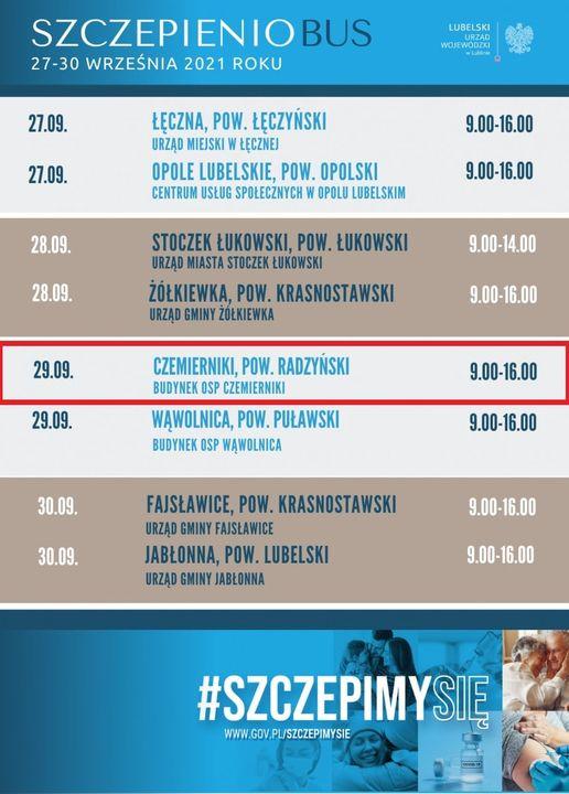 Szczepieniobus w Powiecie Radzyńskim w  środę 29 września  - Zdjęcie główne