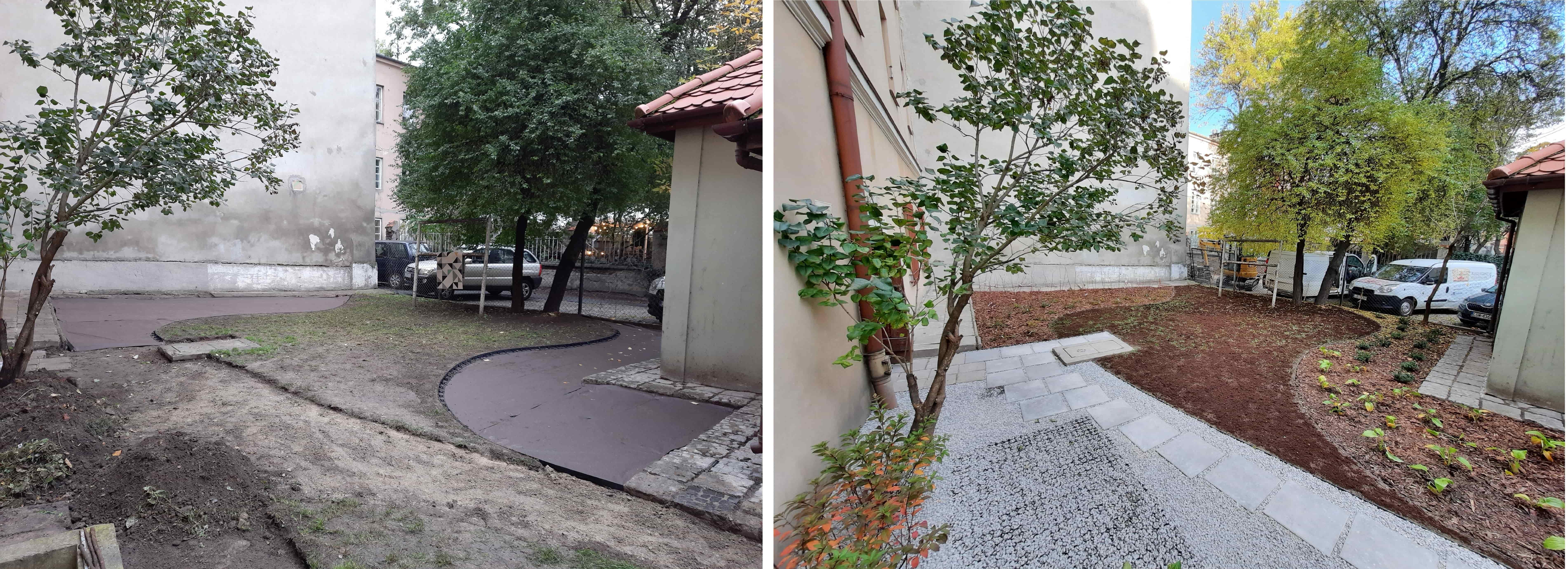 Podwórko przy ul. Jezuckiej w Lublinie. Jest nowa aranżacja i zieleń - Zdjęcie główne