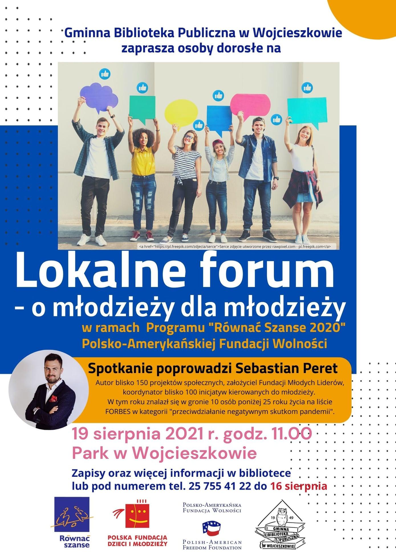 """GM. WOJCIESZKÓW  Forum w ramach Programu """"Równać Szanse"""". """"Lokalne forum - o młodzieży dla młodzieży"""" - Zdjęcie główne"""