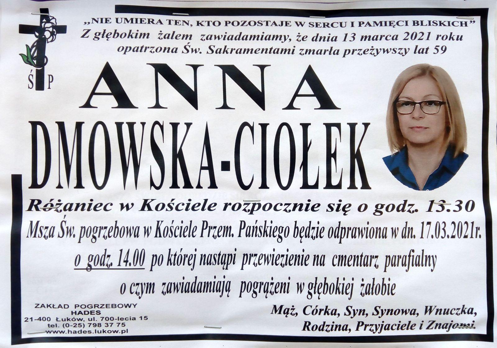 ŁUKÓW. Dziś pogrzeb Anny Dmowskiej - Ciołek - Zdjęcie główne