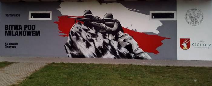 Spod Narwiku na mural do Milanowa. Podhalańczycy zamiast kleeberczyków. Autorem jest Cezary Szewczyk, artysta z Siedlec - Zdjęcie główne