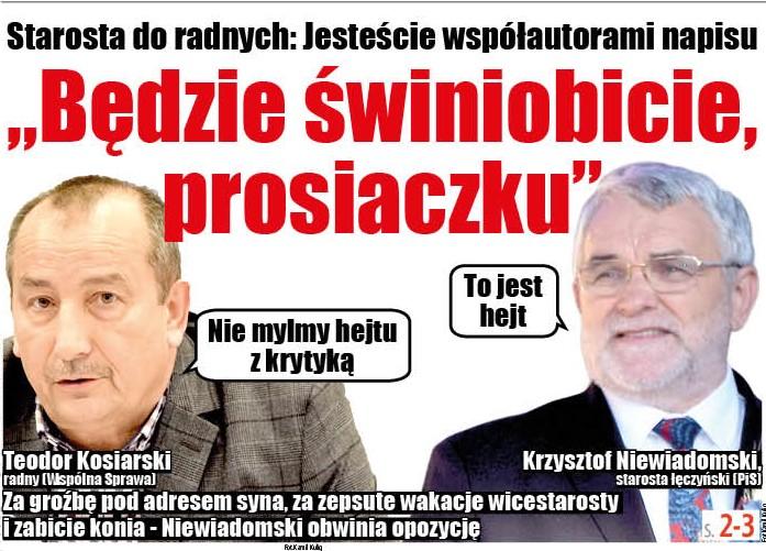 """Starosta łęczyński do radnych: Jesteście współautorami napisu """"Będzie świniobicie, prosiaczku"""" - Zdjęcie główne"""