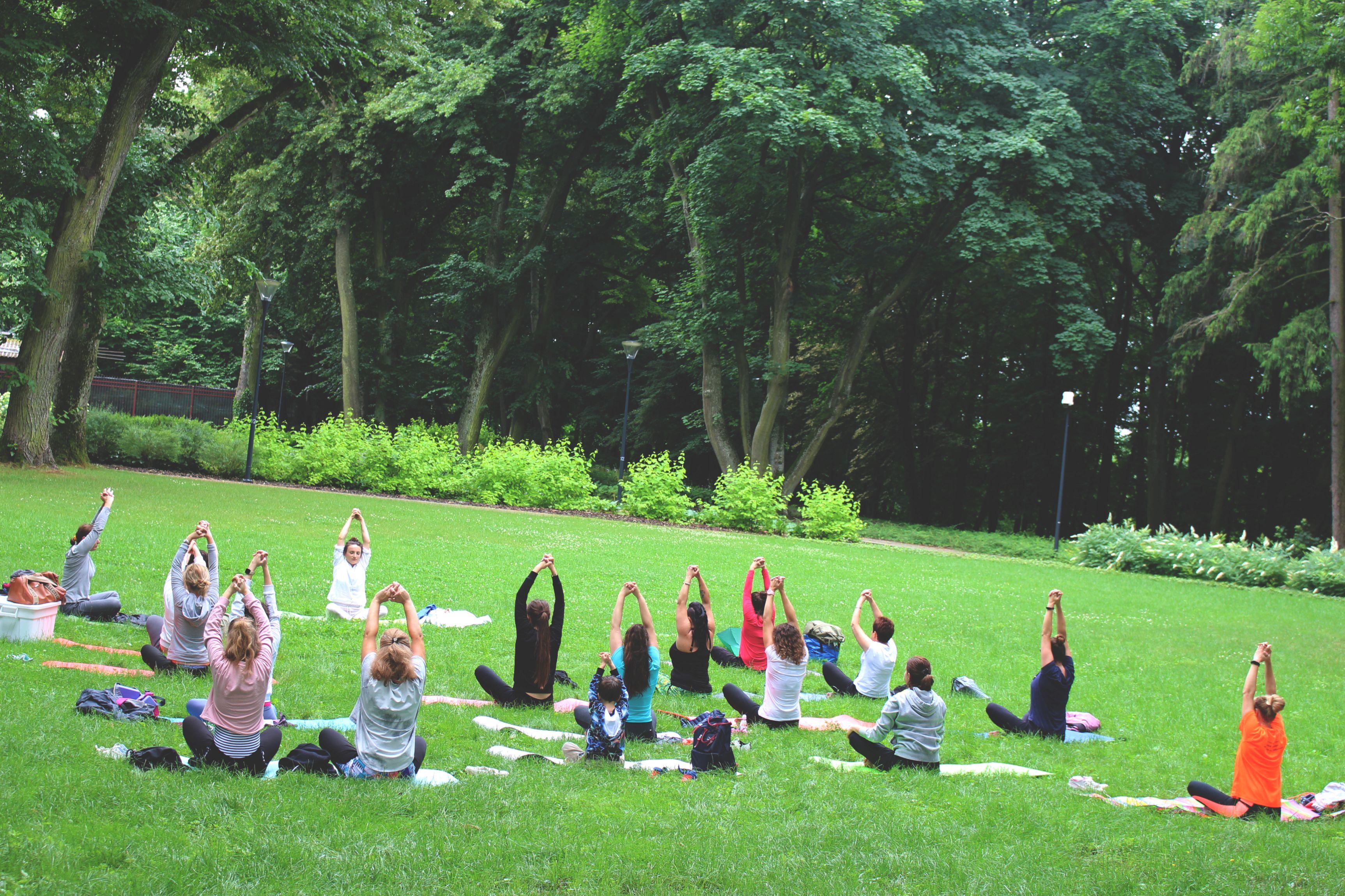 Łęcznianie ćwiczyli jogę na trawniku (foto) - Zdjęcie główne