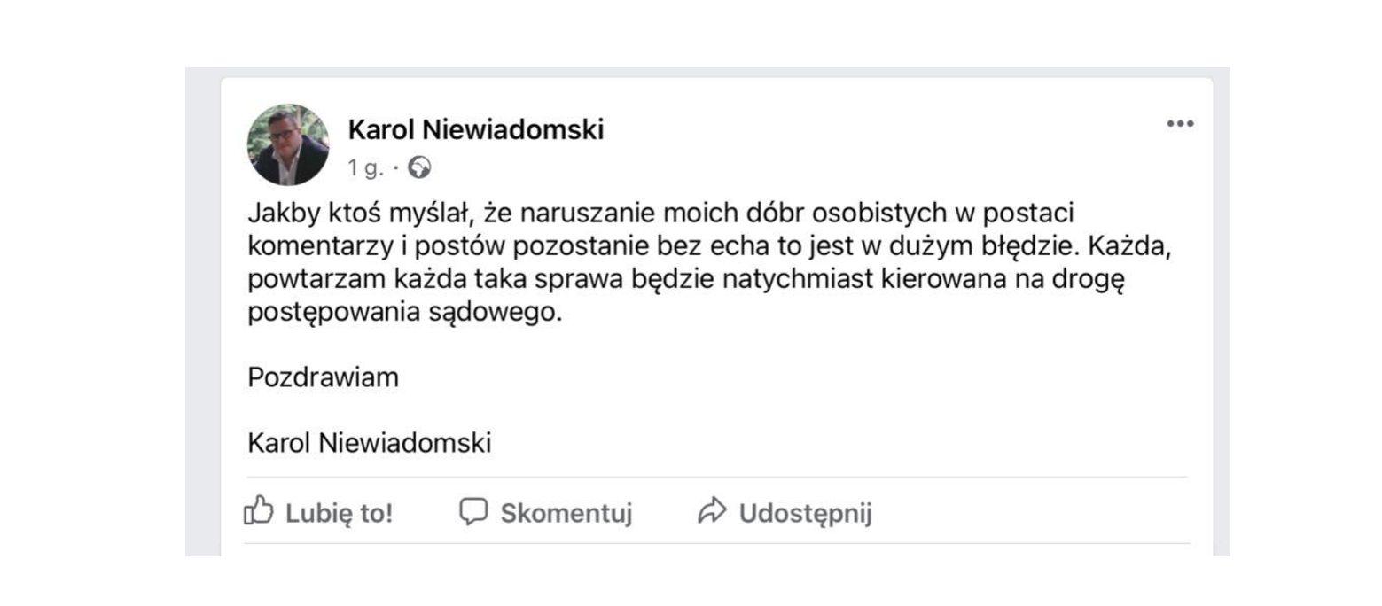 Syn starosty łęczyńskiego przestrzega przed pisaniem komentarzy na jego temat - Zdjęcie główne